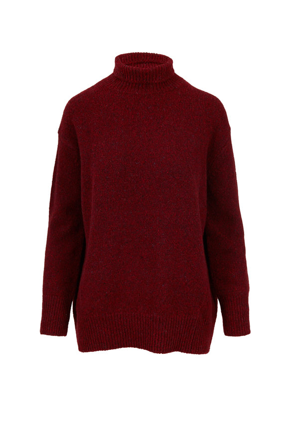 Vince Cherry Red Cashmere Oversized Turtleneck