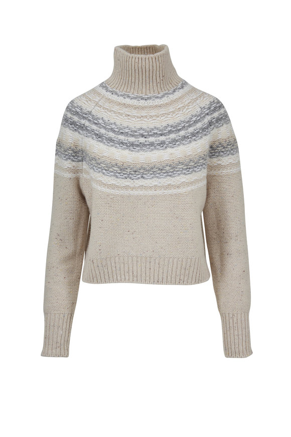 Vince Oat Wool & Cashmere Fairaisle Cropped Sweater