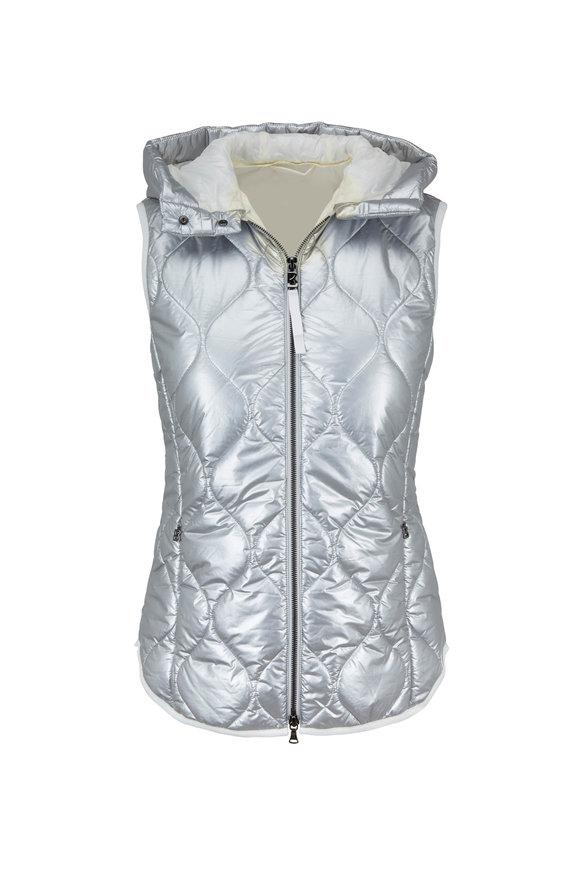 Bogner Silver Diamond Quilted Hooded Puffer Vest