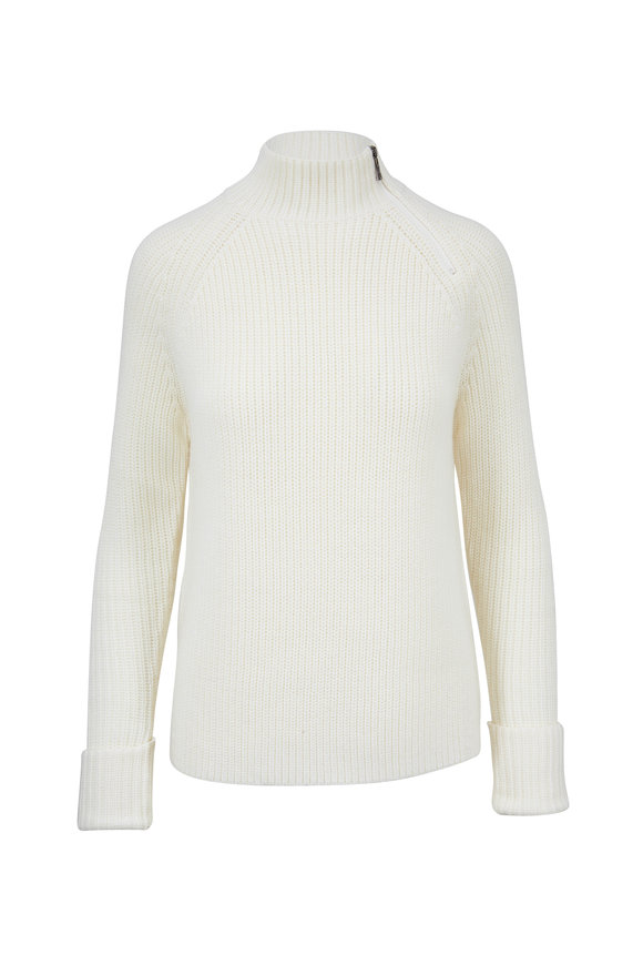 Bogner Corie Ivory Chunky Knit Wool Neck-Zip Sweater