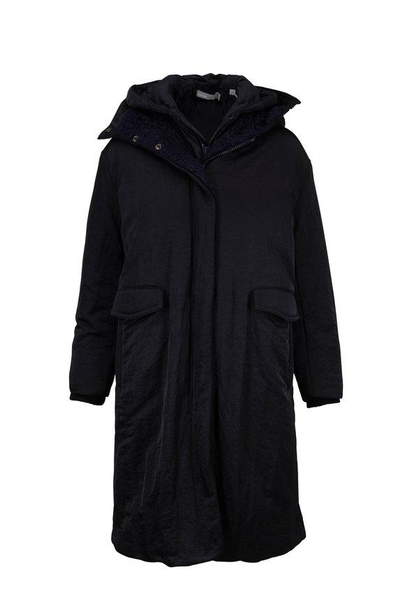 Vince Black Mixed Media Puffer Coat