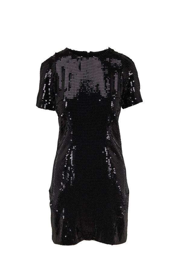 Galvan Clara Black Sequin Short Sleeve Cocktail Dress