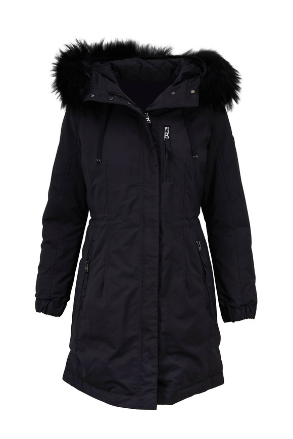 Bogner Alicia Black Fur Trim Hooded Coat
