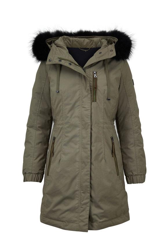 Bogner Alicia Olive Green & Black Fur Trim Hooded Coat