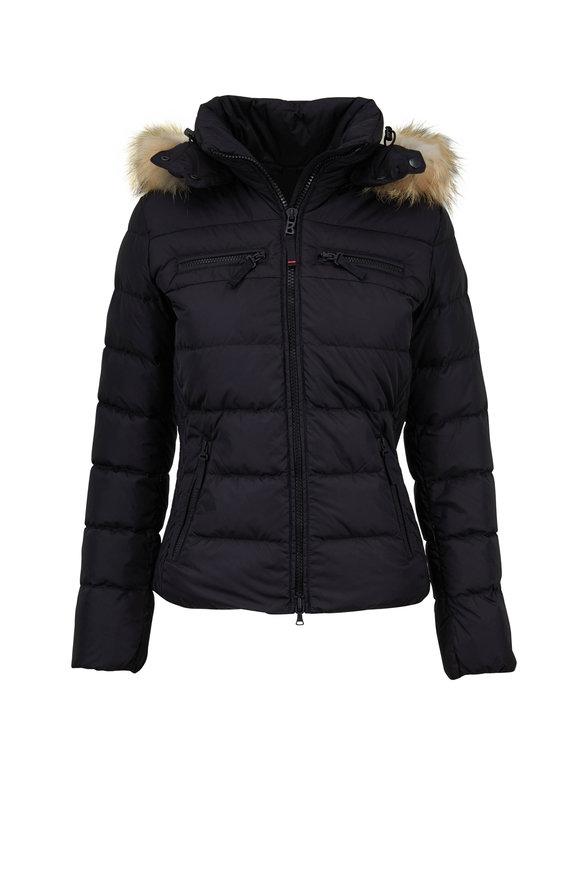 Bogner Lela Black Quilted Puffer Fur Trim Hood Coat