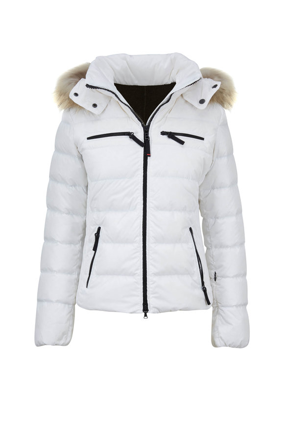 Bogner Lela White Quilted Puffer Fur Trim Hood Coat