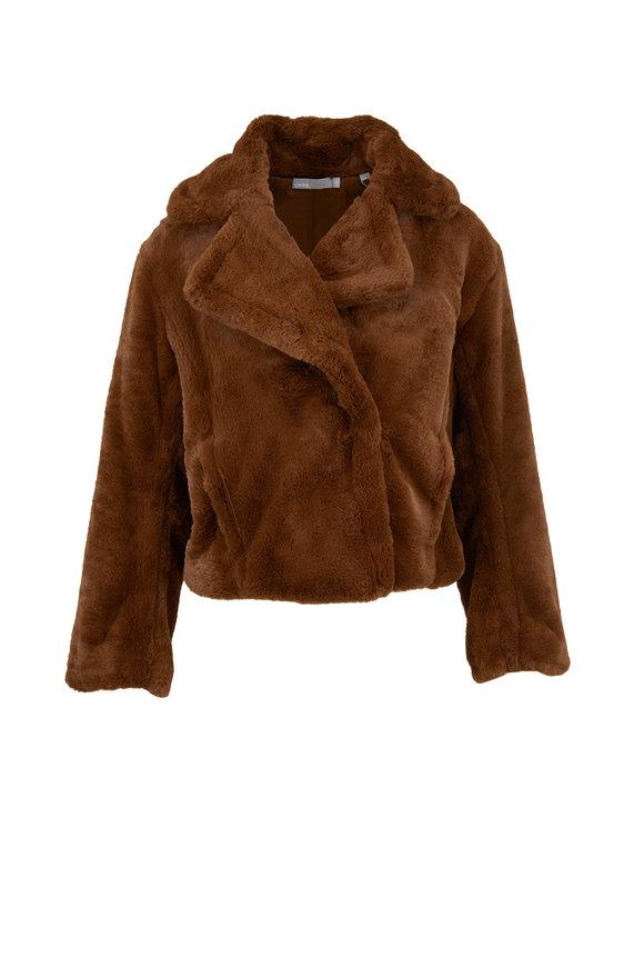 Vince Walnut Plush Faux Fur Coat