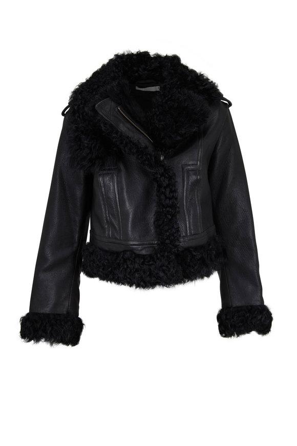 Vince Black Leather Shearling Moto Jacket