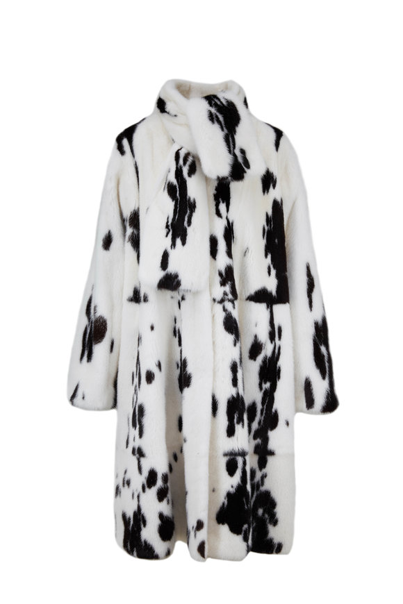 Oscar de la Renta Furs White & Black Jaguar Mink Self Scarf Swing Coat
