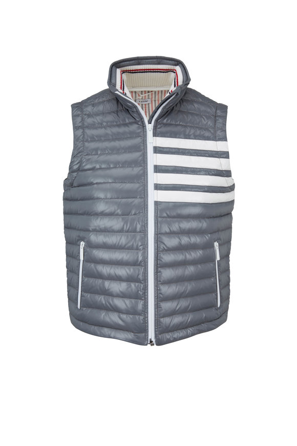 Thom Browne Medium Gray Satin Finish Down Vest