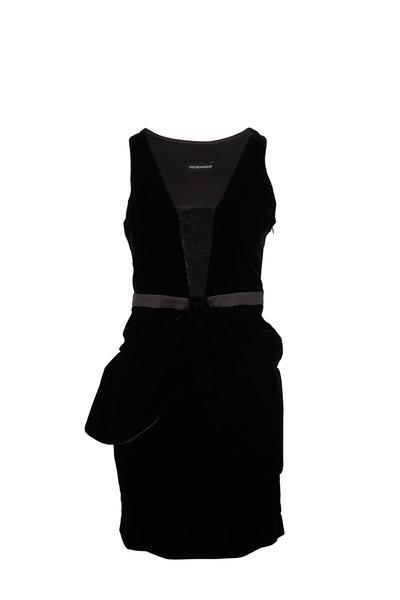 Emporio Armani - Black Velvet Deep V-Neck Sleevless Dress