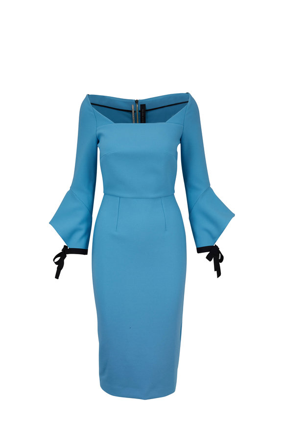 Roland Mouret Hitchcock Cornflower Blue Bow Cuff Dress