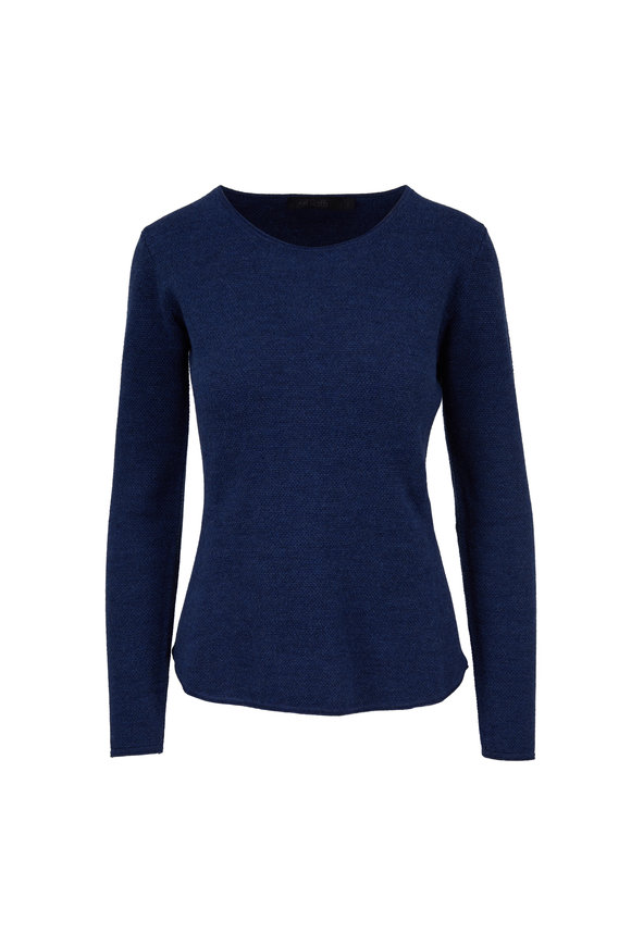 Raffi  Ocean Blue Wool Mixed Stitch Sweater