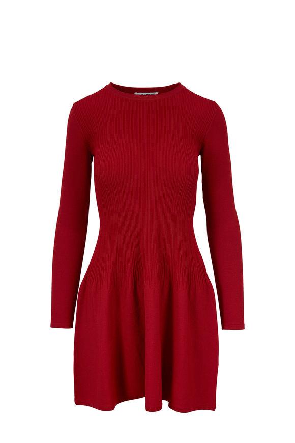 Elizabeth & James Tao Cayenne Ribbed Fit & Flare Dress