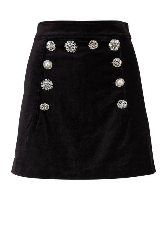 Veronica Beard Ording Black Velvet Jewel Button Mini Skirt