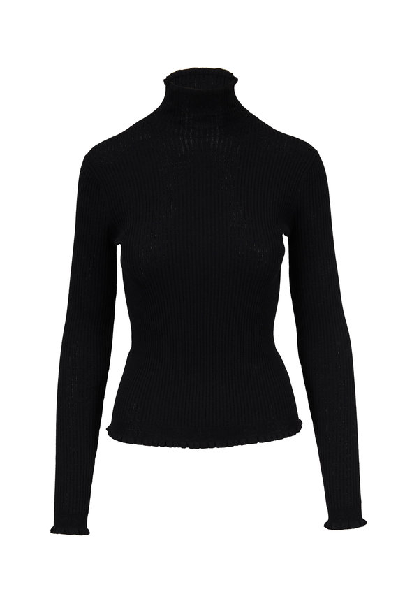 Vince Black Crepé Wool Turtleneck