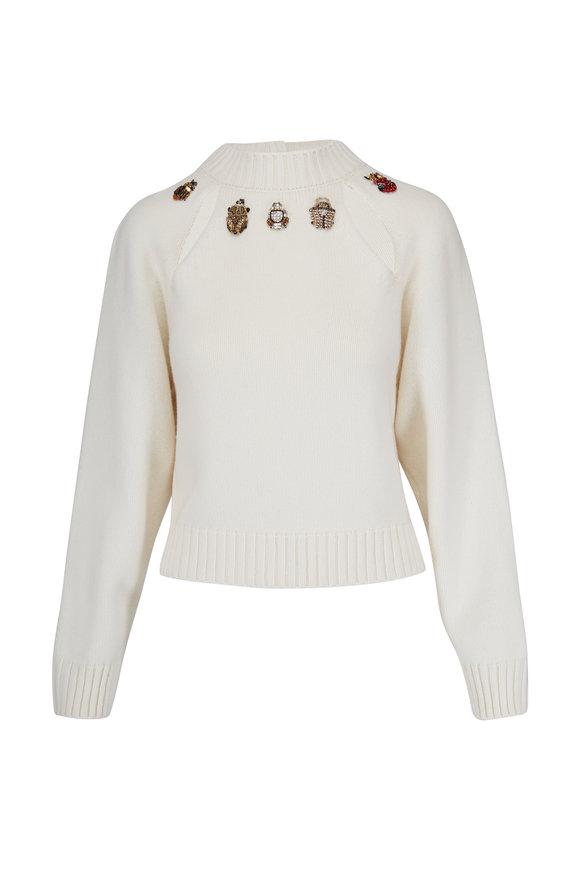 Alexander McQueen Ivory Wool & Cashmere Open Back Bugs Sweater