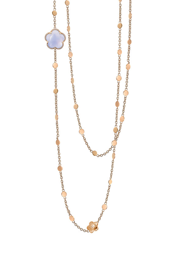 Pasquale Bruni Rose Gold Blue Chalcedony & Diamond Necklace