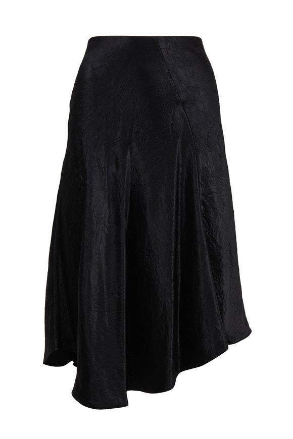 Vince Black Charmeuse Bias Cut Pull-On Skirt