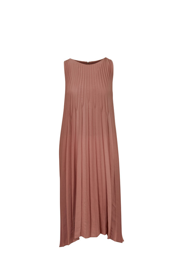 Vince Vintage Rose Chevron Pleated Sleeveless Dress
