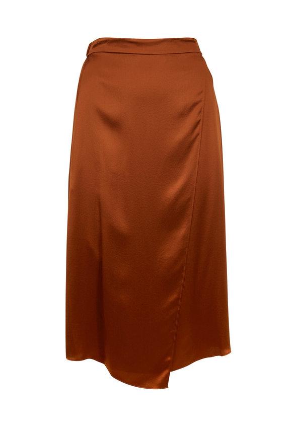 Vince Light Copper Drape Panel Pull-On Skirt