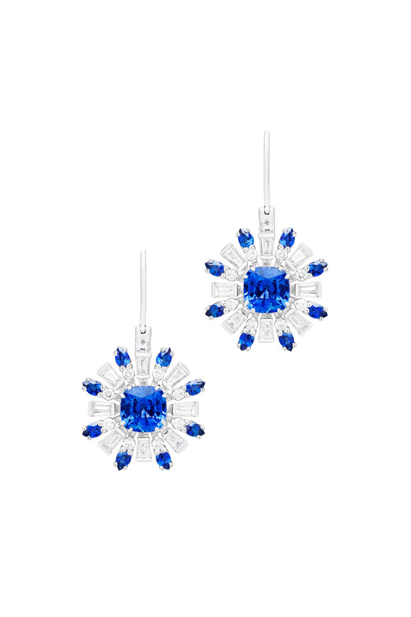 Paul Morelli 18K White Gold Retro Burst Blue Sapphire Earrings