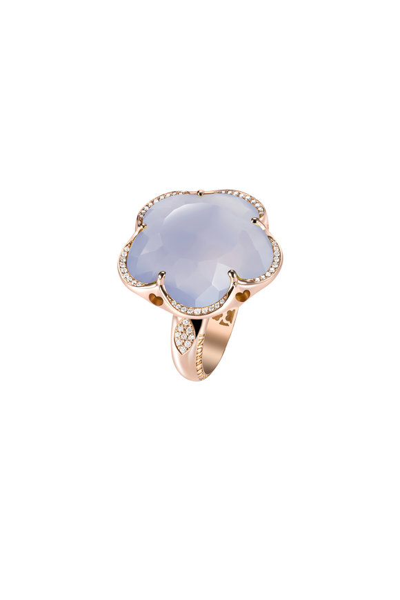 Pasquale Bruni Rose Gold Blue Chalcedony & Diamond Ring