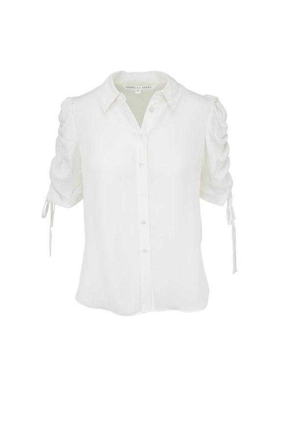 Veronica Beard Carmine Off-White Silk Ruched Sleeve Blouse