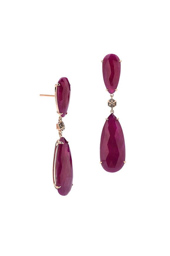 Paolo Costagli 18K White Gold Ruby Slice Earrings