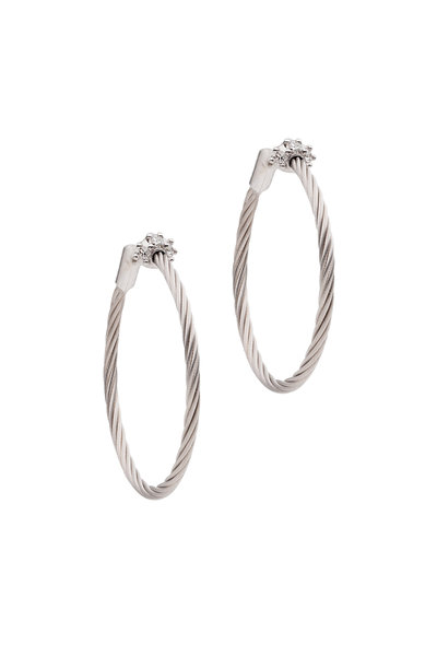 Paul Morelli - 18K White Gold Wire Hoop Earrings