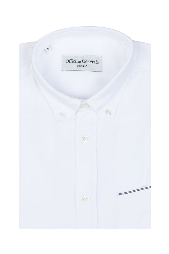 Officine Generale White Oxford Sport Shirt