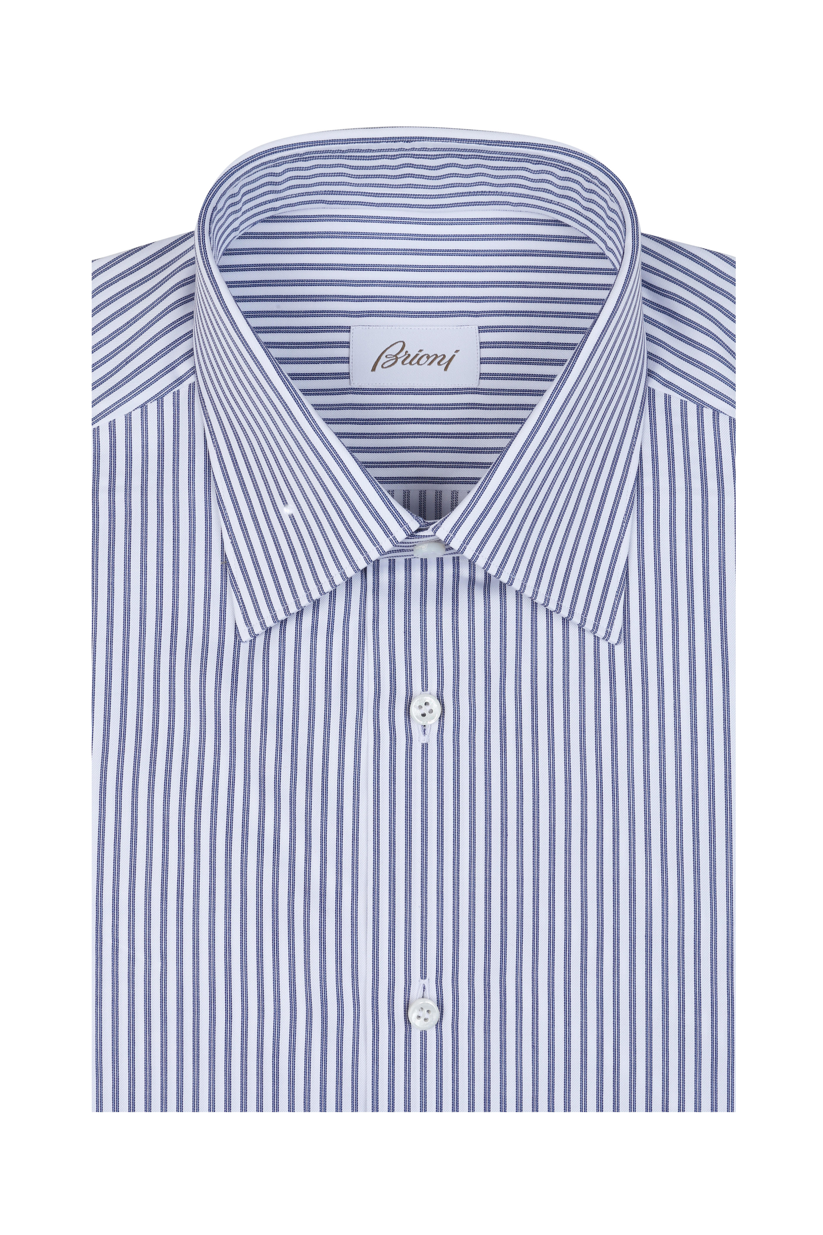 Brioni Navy Blue Striped Dress Shirt Mitchell Stores