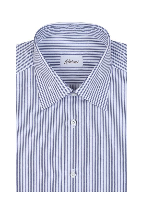 Brioni Navy Blue Striped Dress Shirt