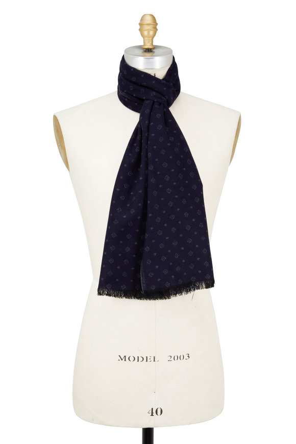 Chelsey Imports Navy & Gray Diamond Printed Silk Scarf
