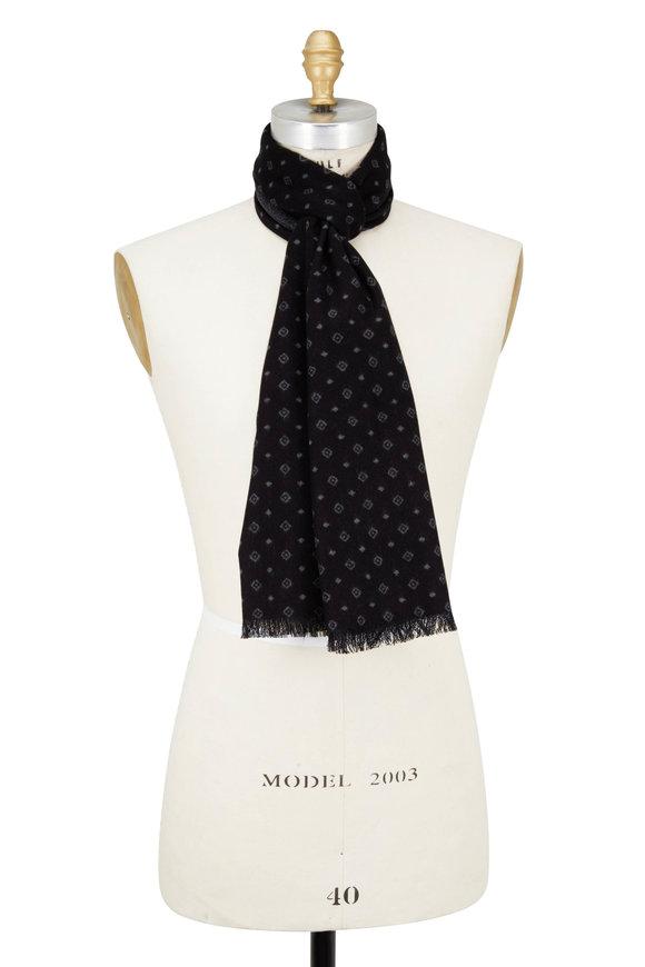Chelsey Imports Black & Gray Diamond Print Silk Scarf