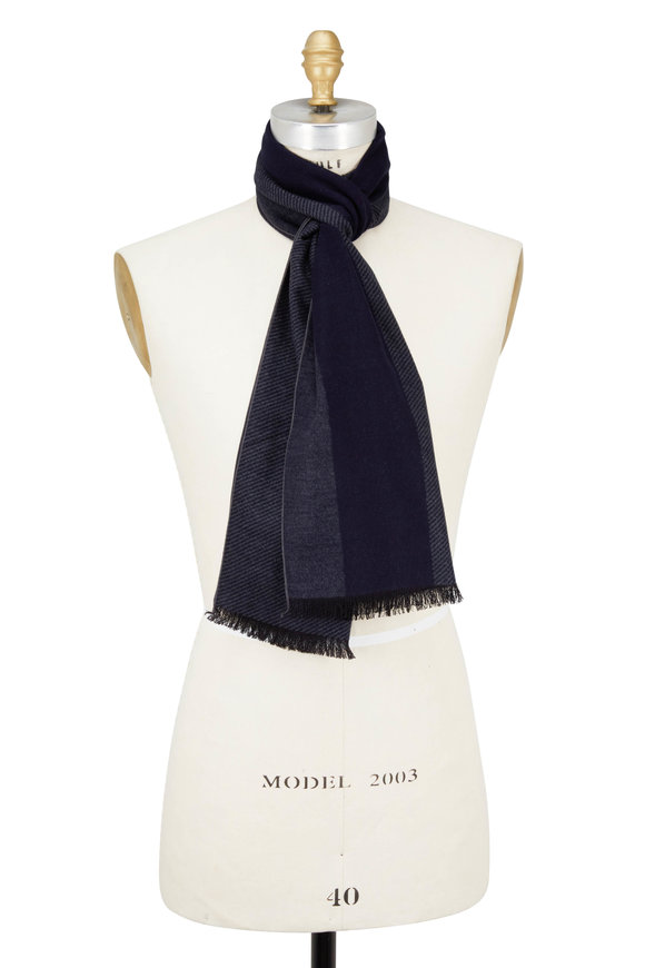 Chelsey Imports Navy & Gray Wide Striped Silk Scarf