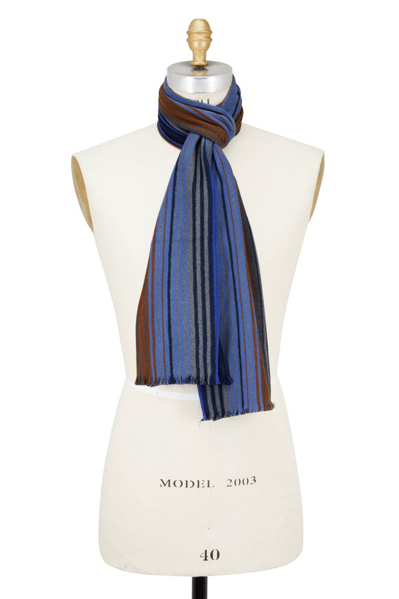 Chelsey Imports Blue Multicolor Striped Silk Scarf