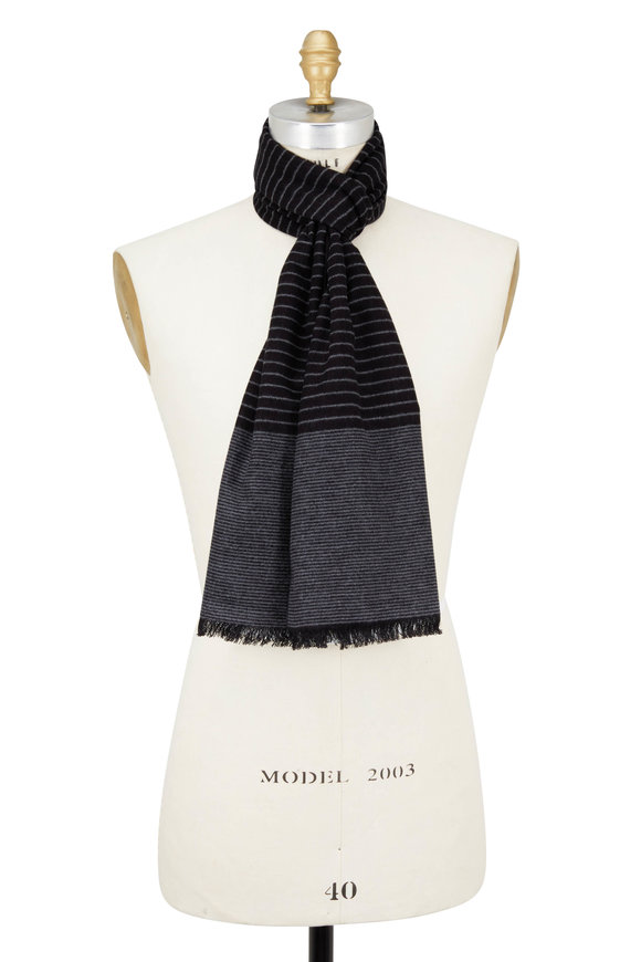 Chelsey Imports Black & Gray Mini Striped Silk Scarf