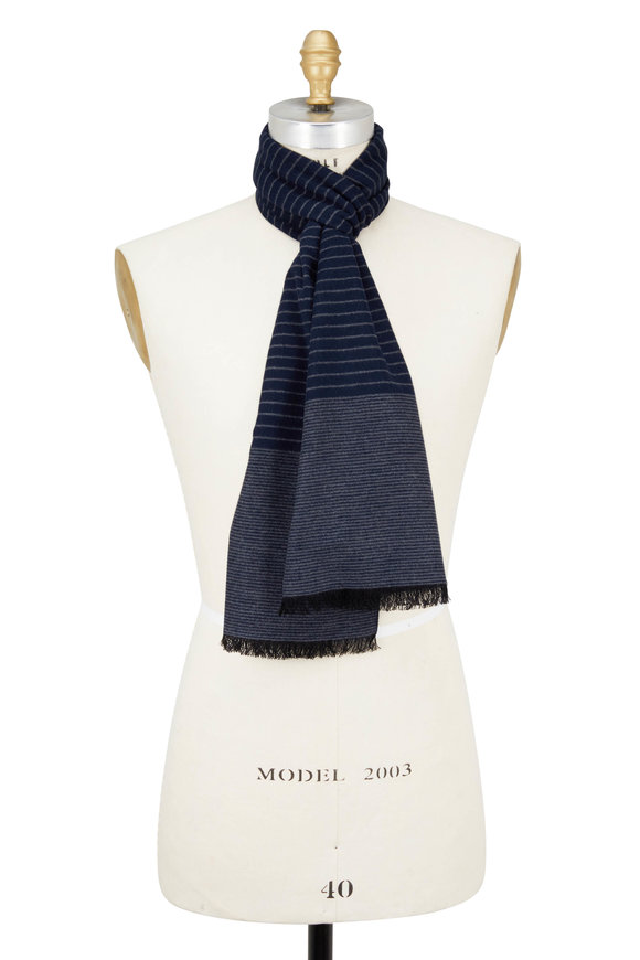 Chelsey Imports Navy & Gray Mini Striped Silk Scarf