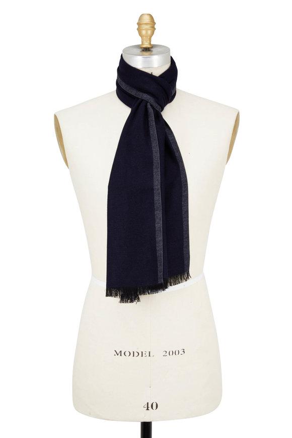 Chelsey Imports Dark Blue & Gray Silk Scarf