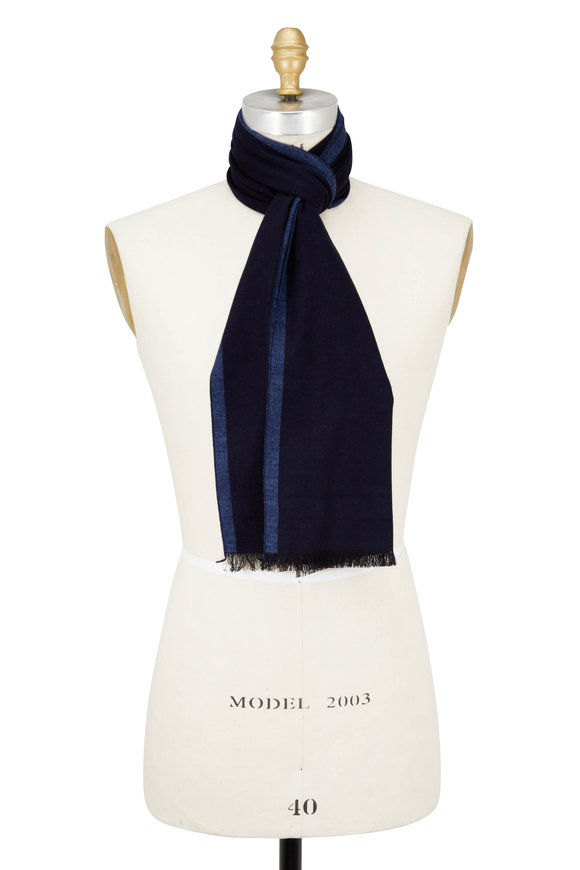Chelsey Imports Navy & Light Blue Silk Scarf