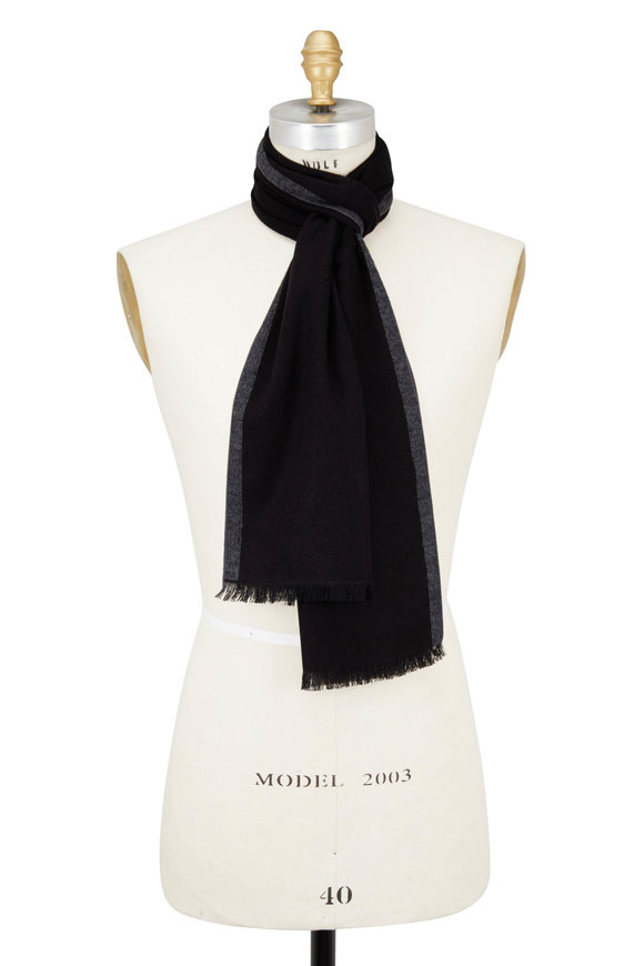 Chelsey Imports Black & Gray Silk Scarf