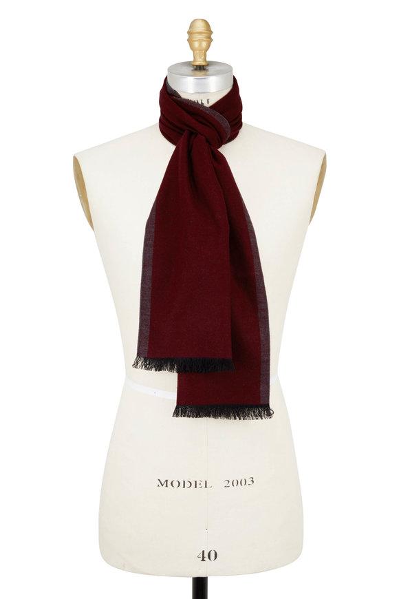 Chelsey Imports Burgundy & Gray Silk Scarf
