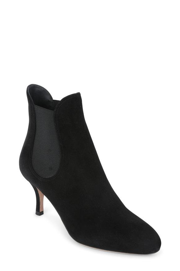 Valentino Garavani Rockstud Black Suede Ankle Boot, 70mm