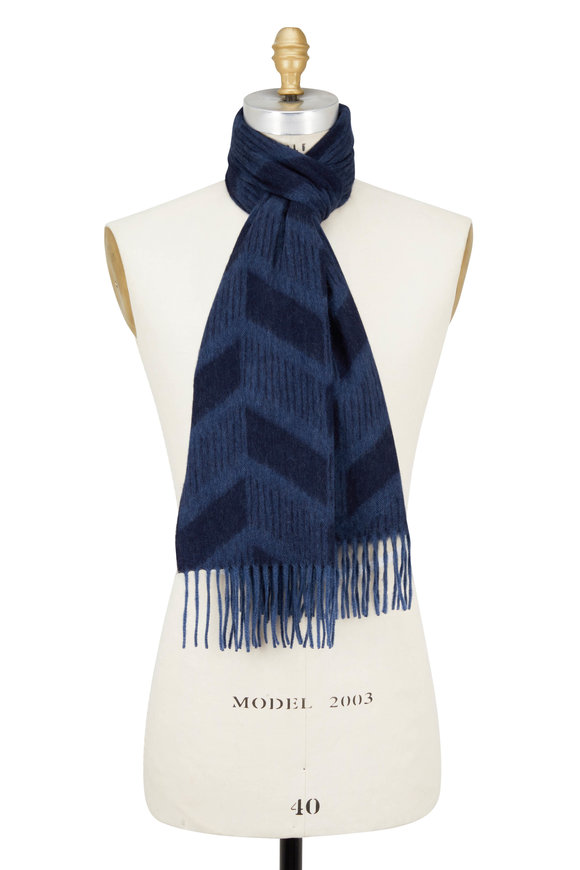 Seaward & Stearn Navy & Gray Chevron Wool & Angora Scarf