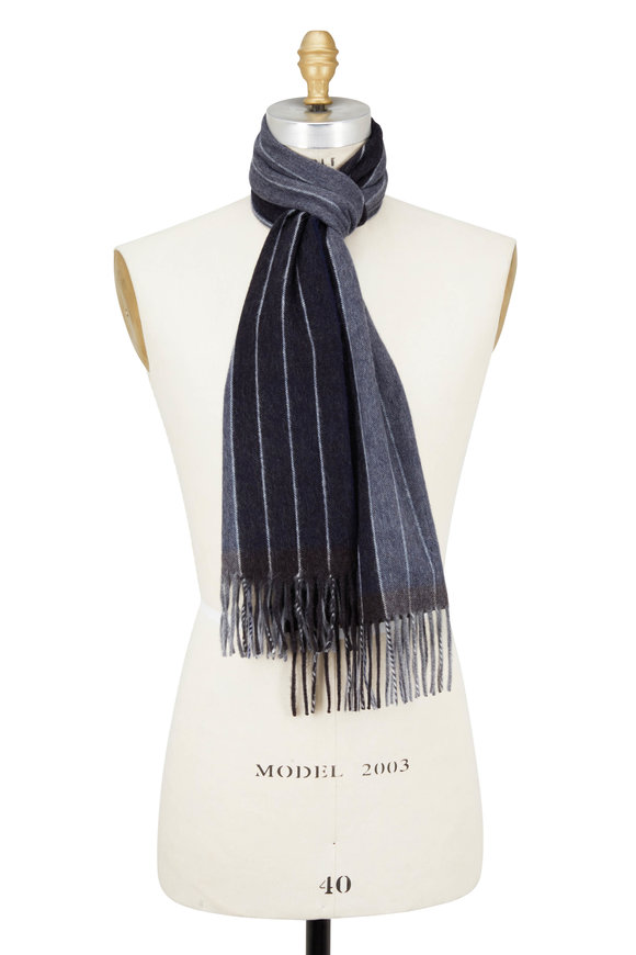 Seaward & Stearn Navy & Brown Striped Wool & Angora Scarf
