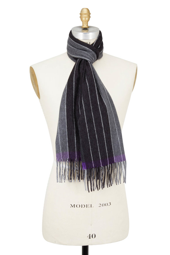 Seaward & Stearn Gray & Purple Striped Wool & Angora Scarf