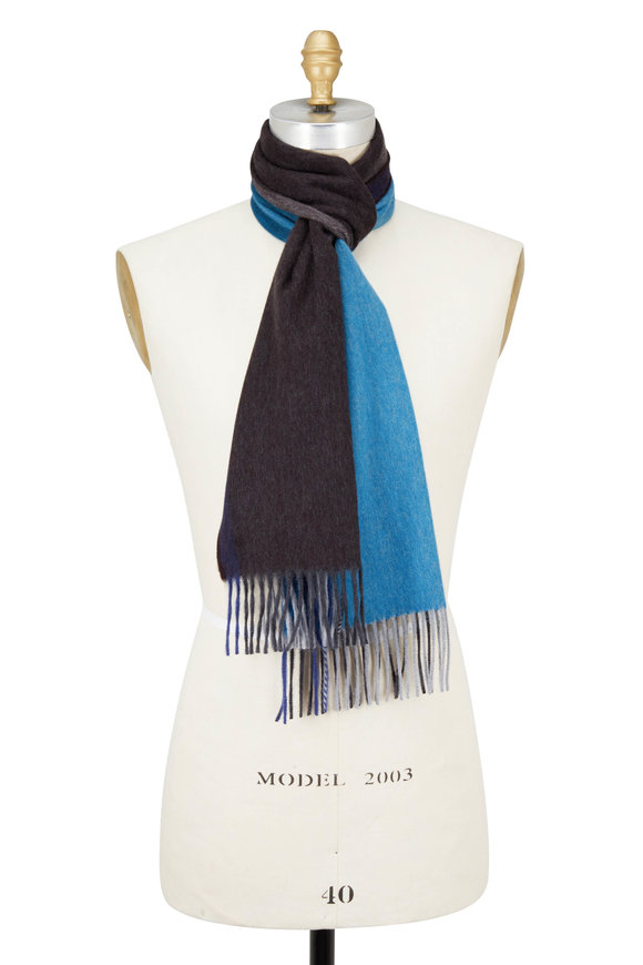 Seaward & Stearn Brown & Teal Colorblock Wool & Angora Scarf