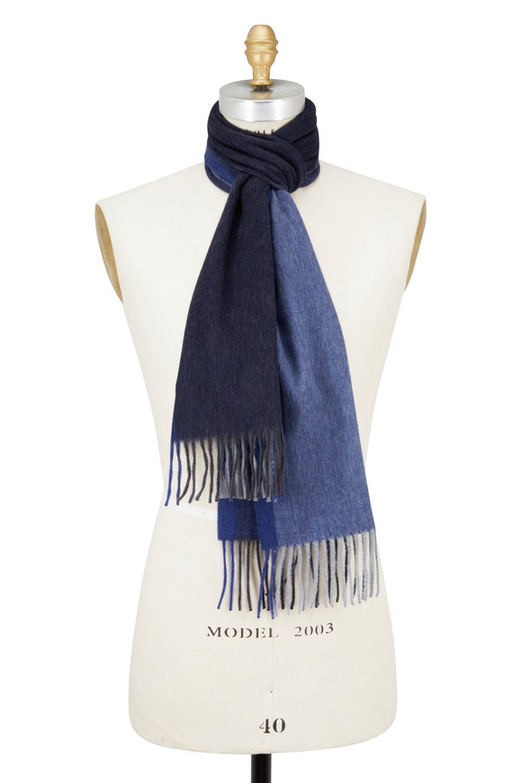Seaward & Stearn Blue & Gray Colorblock Wool & Angora Scarf