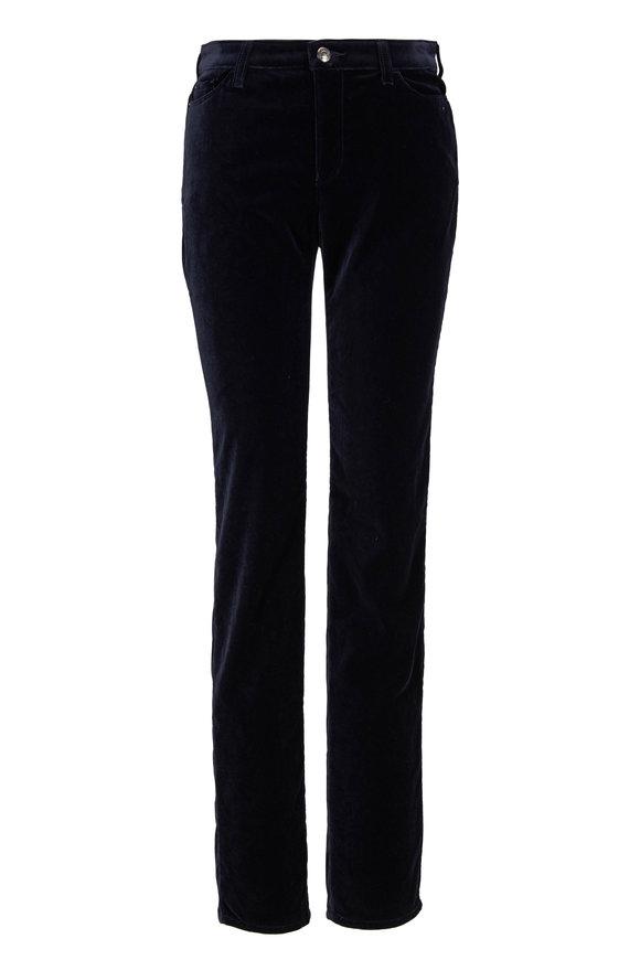 Emporio Armani Navy Stretch Velvet Five Pocket Skinny Pant